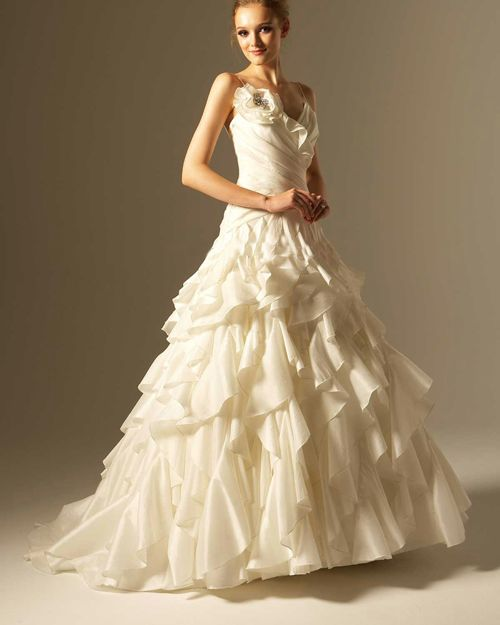 Taffeta Spaghetti Strap Ruffle Court Bridal Ball Gown Wedding Dress...