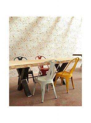 Sedie In Ferro Vintage.Sedia In Ferro Industrial Vintage Design Colore Giallo Sedia