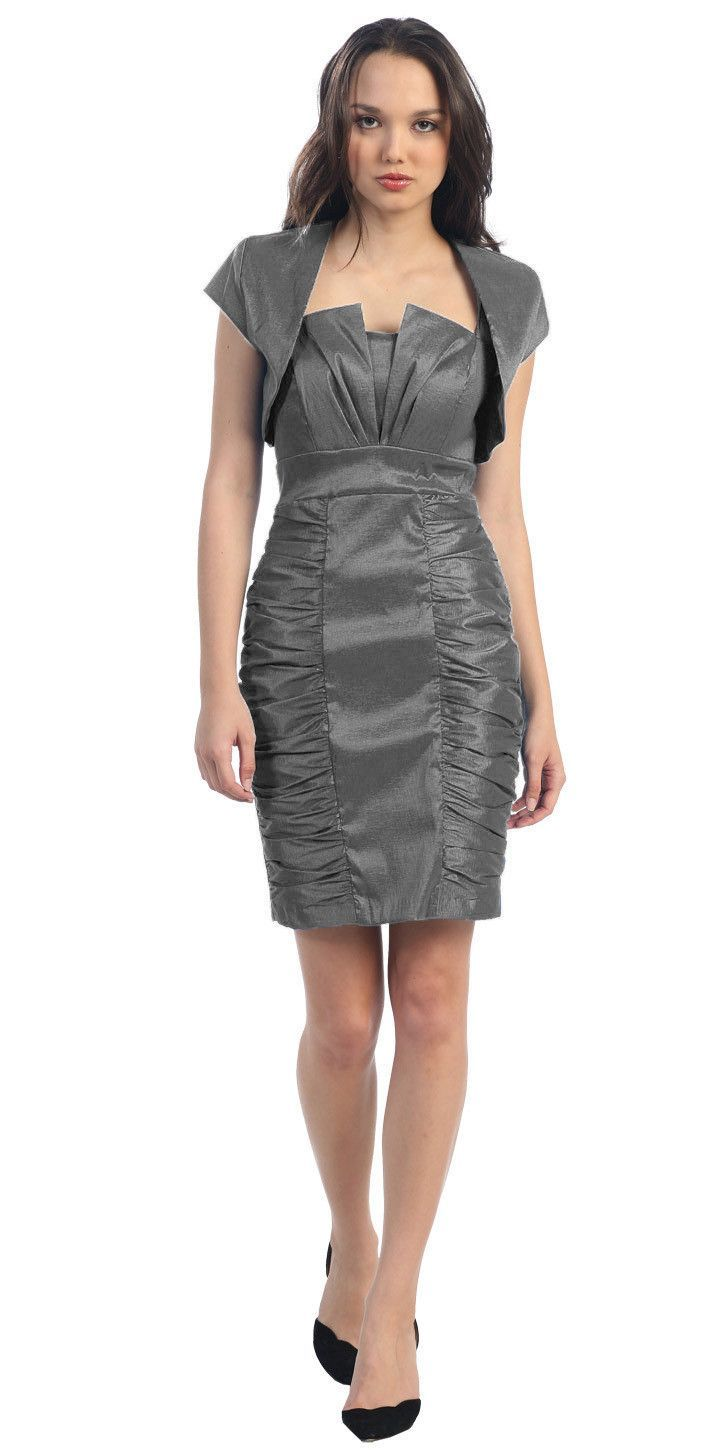 Short Ruched Plum Sheath Cocktail Dress With Shrug | Products