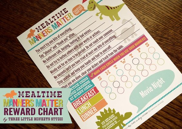 Free Printable Mealtime Manners Chart Free Printables