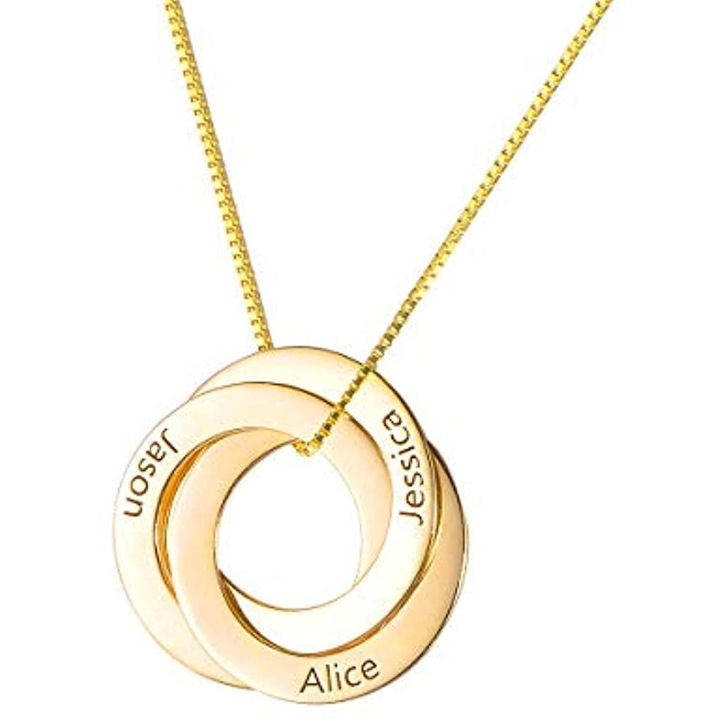 Personalisiert Gold Herz Geburtsstein Halskette 4 Namen Graviert Schmuck