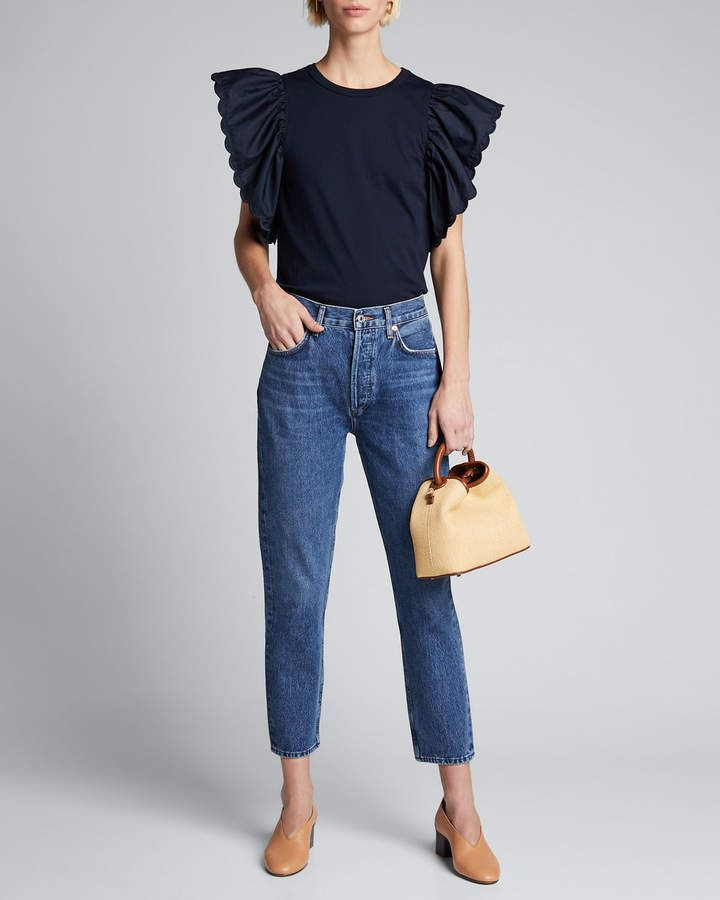 See by Chloe Cotton Ruffled Cap-Sleeves Top #seebychloe