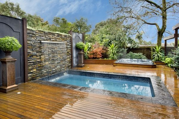 unique small plunge pool design ideas water feature waterfall wooden ...