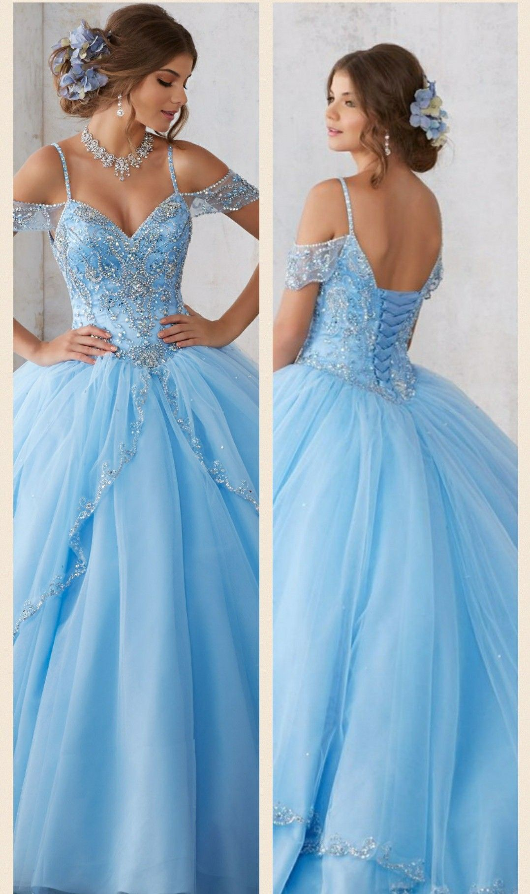 Elegant Bahama Blue Off The Shoulder Quinceanera Dress With Cap Sleeves Other Available Colo Backless Dress Formal Formal Dresses Long Japanese Street Fashion [ 1815 x 1077 Pixel ]