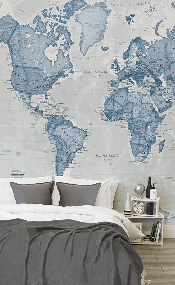 Blue world map wallpaper mural muralswallpaper want want want blue world map wallpaper mural muralswallpaper want want want want pinterest neutral wallpaper and bedrooms gumiabroncs Image collections