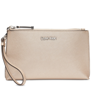 6029aab8b1d4d1 Calvin Klein Saffiano Leather Wristlet - Tan/Beige. Find this Pin and more  on Products by Macy's. Tags. Michael Kors Jet Set