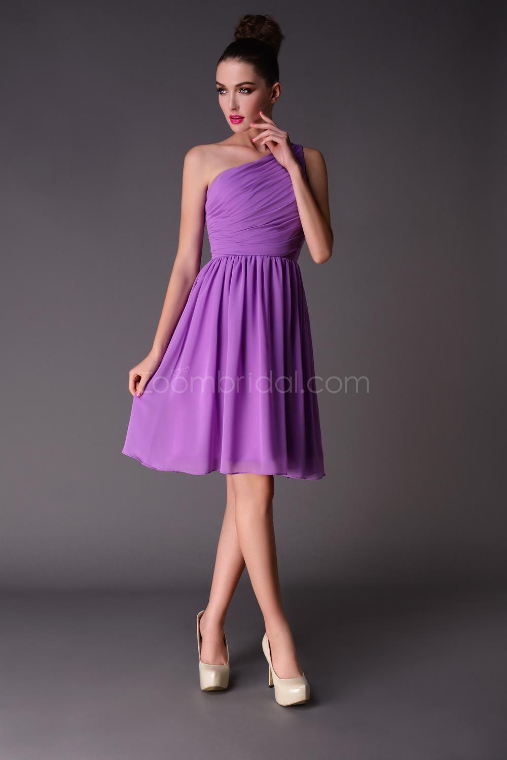 Lilac Bridesmaid Dress One Shoulder Pleated Chiffon A line Knee ...
