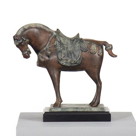 Two-tone Tang horse sculpture.