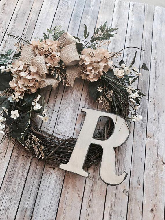 Photo of BEST SELLER! Cream Hydrangea Wreath,Summer Wreath,Farmhouse Wreath,Year Round Wr…