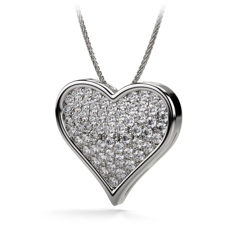 UNDER $3,000 ! 1.25ctw Flat Heart Shaped Pave Set Diamond Necklace ...