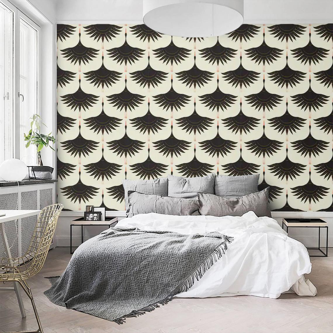 Wallpaper Crane Birds Peel And Stick Wallpaper Mural Art Deco Etsy Peel And Stick Wallpaper Mural Wallpaper Accent Wall