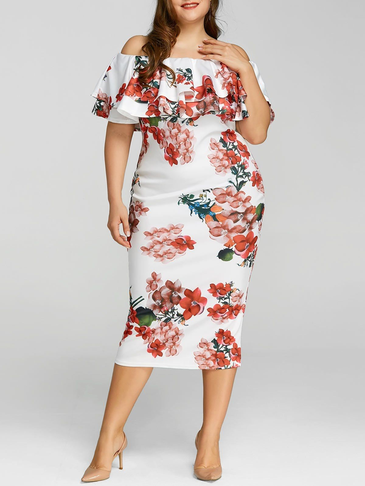 Plus Size Ruffle Floral Print Dress in 2019 | Plus size ...