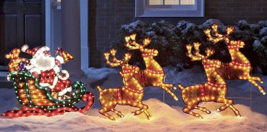 7 Lighted Santa Reindeer Sleigh Christmas Holiday Outdoor Decor Yard Art New W Unique Christmas Decorations Xmas Decorations Outdoor Christmas Decorations