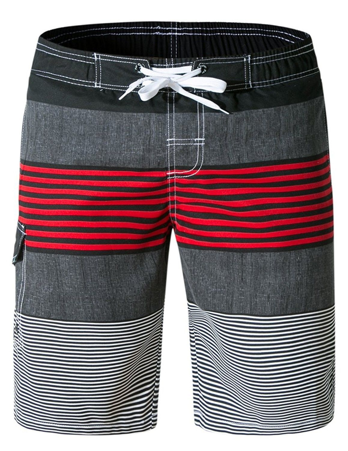 5c9cc05562 Men's Clothing, Swim, Board Shorts, Men's Board Shorts Quick Dry Striped Swim  Trunks with Mesh Lining - Bred - CL18C8LZSE7 #fashion #Swim #men #outfits  ...