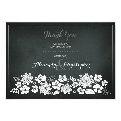 Chalkboard White Flowers Vintage Thank You Card  White Flowers