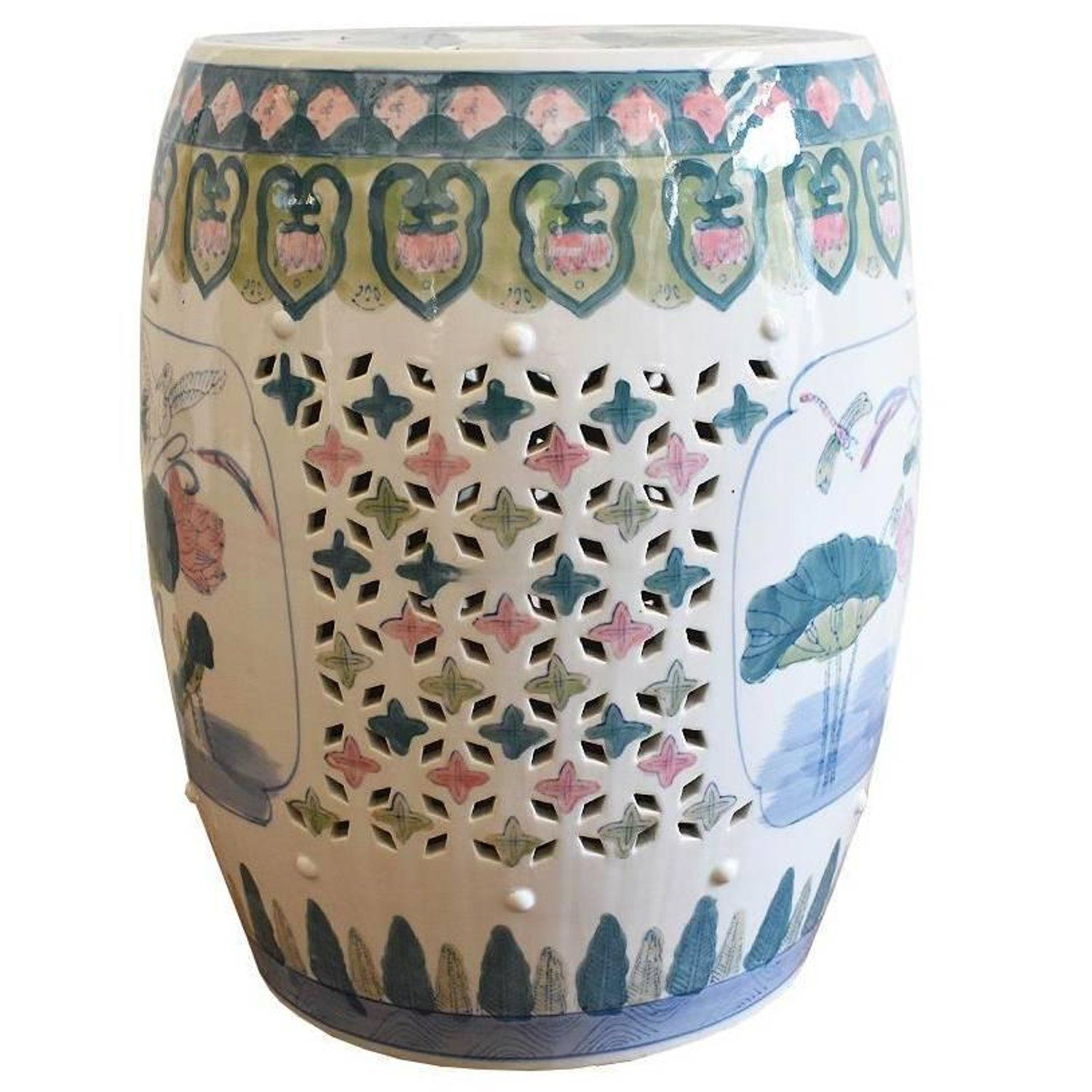 Legends of Asia Asian Traditional Chinese Blush Pink Porcelain Decorative Garden Stool