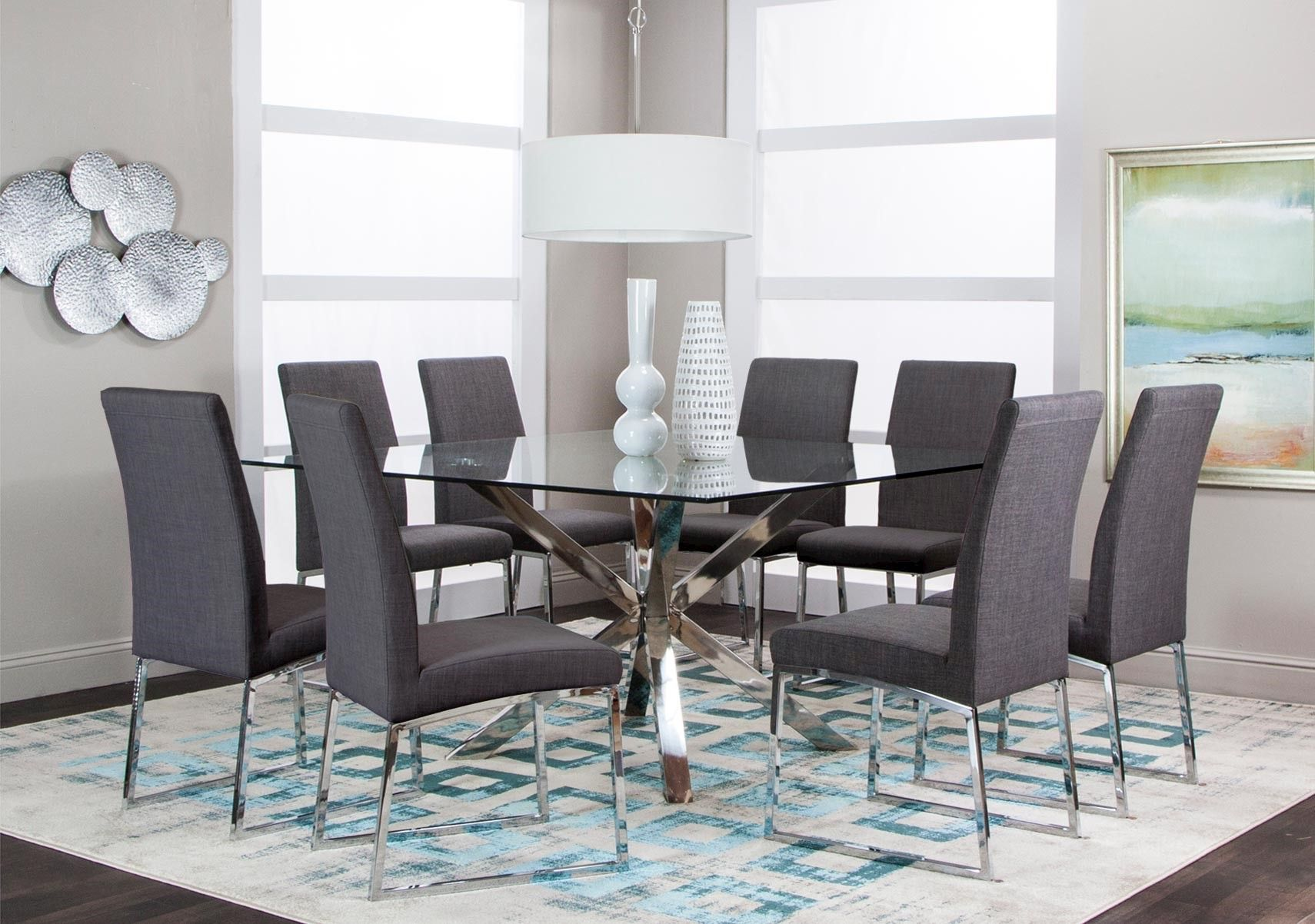 Brilliant Lacks Classic Dark Gray 9 Pc Dining Set Clean Lines Home Interior And Landscaping Mentranervesignezvosmurscom