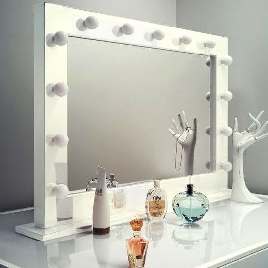 High Gloss White Hollywood Makeup Dressing Room Mirror