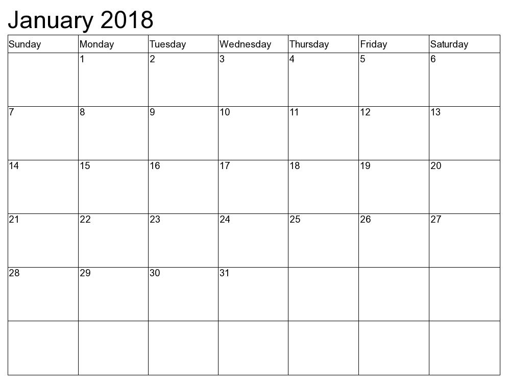 blank calendar jan 2018