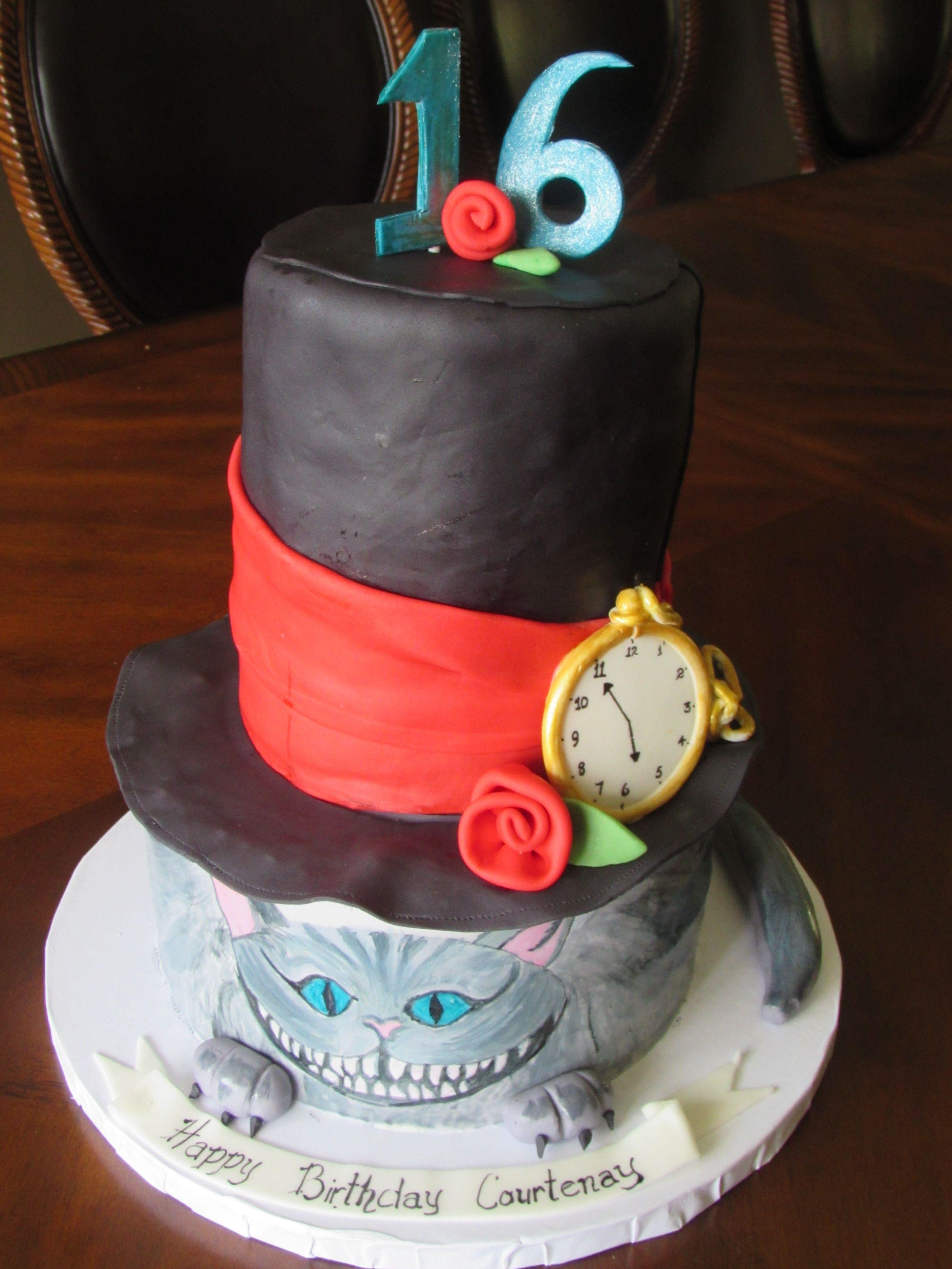 Alice In Wonderland Birthday Cake For A Sweet Sixteen Birthday Hand