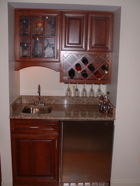 A close up of a beautiful wet bar we installed. Bars for