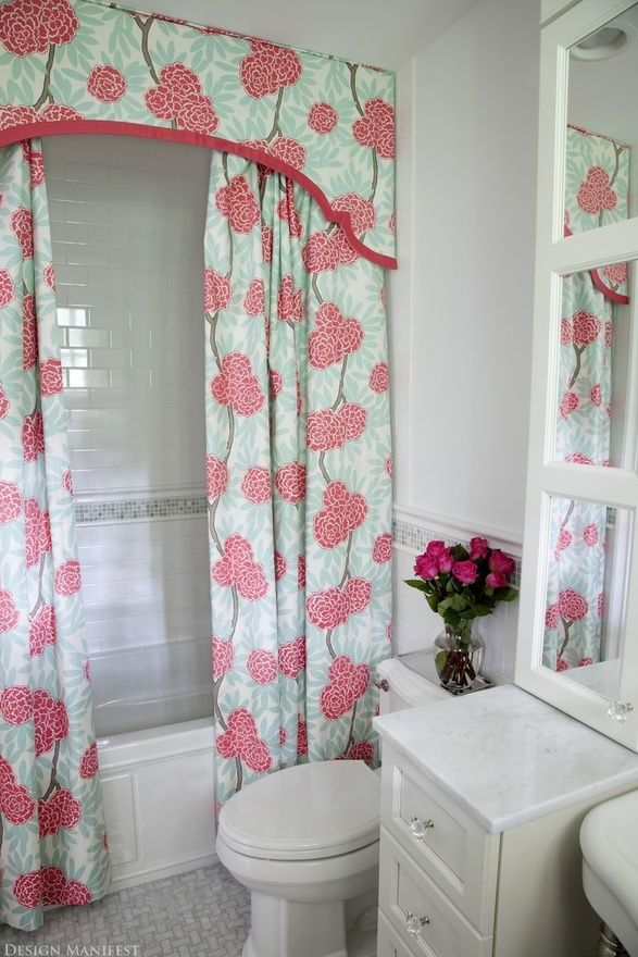 Shower curtain with shaped valance and double curtains room by Design Manifest. So cute gives character to a some what boring room!
