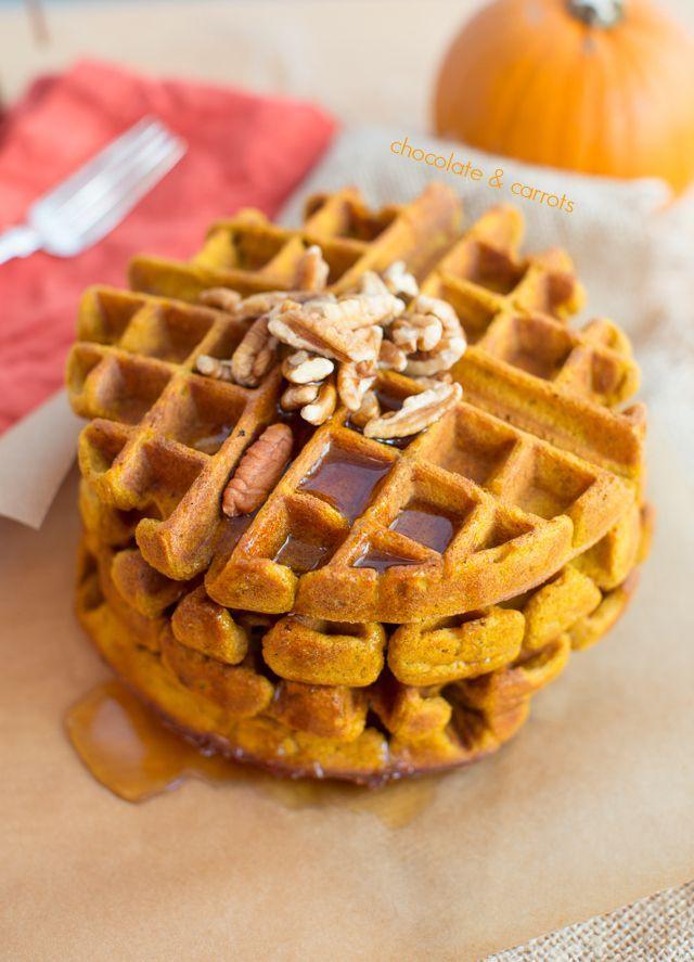 Whole Wheat Pumpkin Waffles.