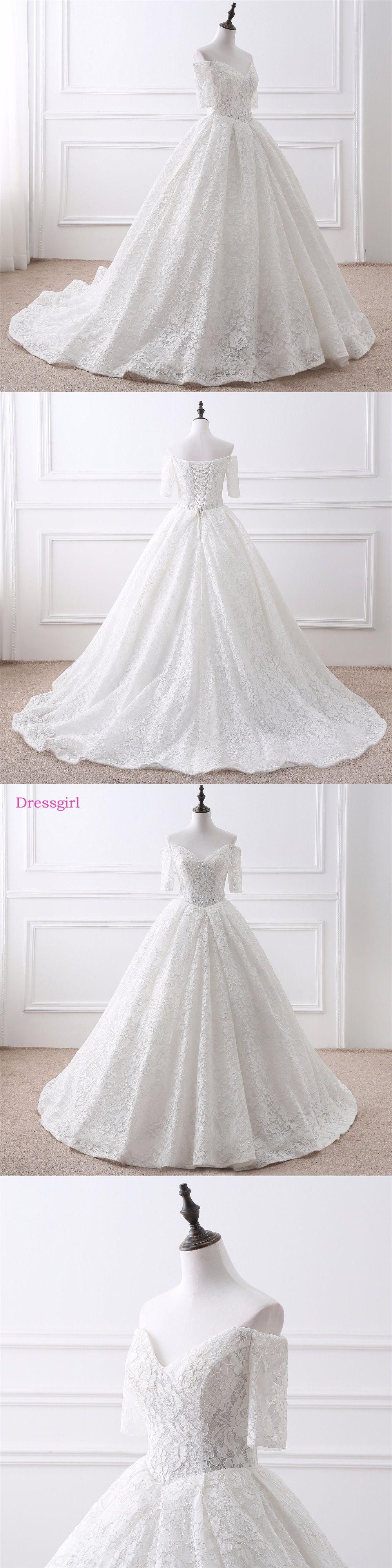 Lace vestido de noiva wedding dresses ball gown vneck half