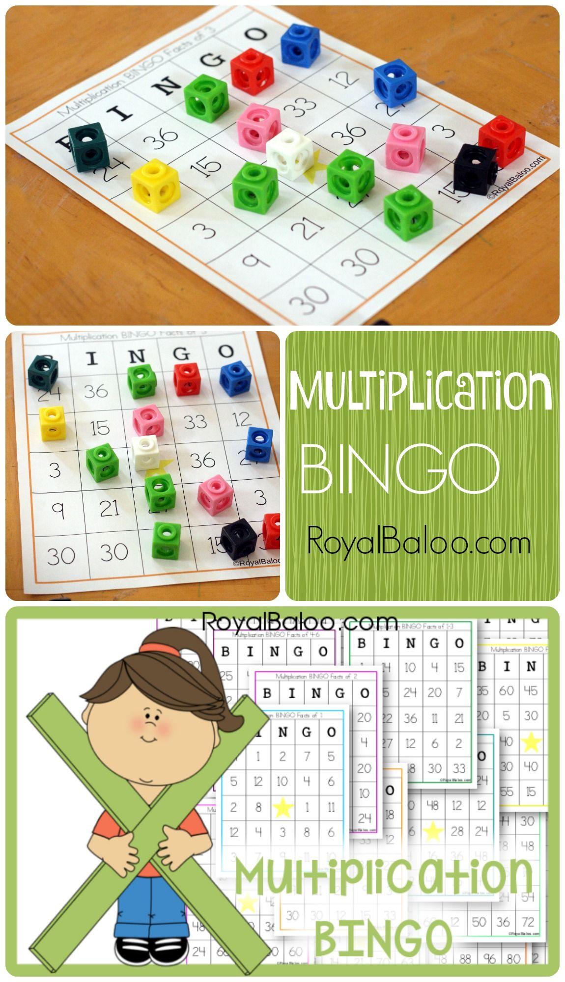 Multiplication BINGO Cards - Free! Practice multiplication facts 1 ...