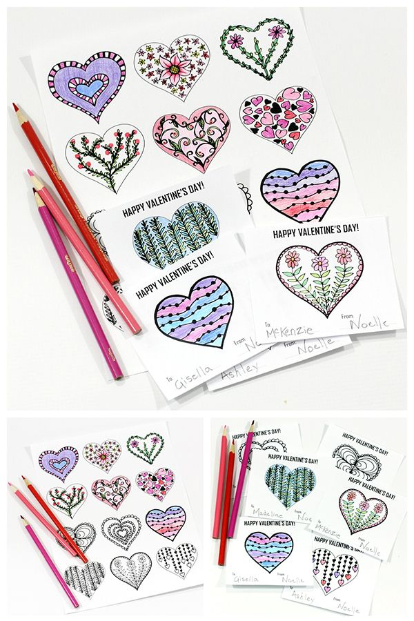 Hearts Coloring Page and Valentine\'s Day Cards | Heart Day ...