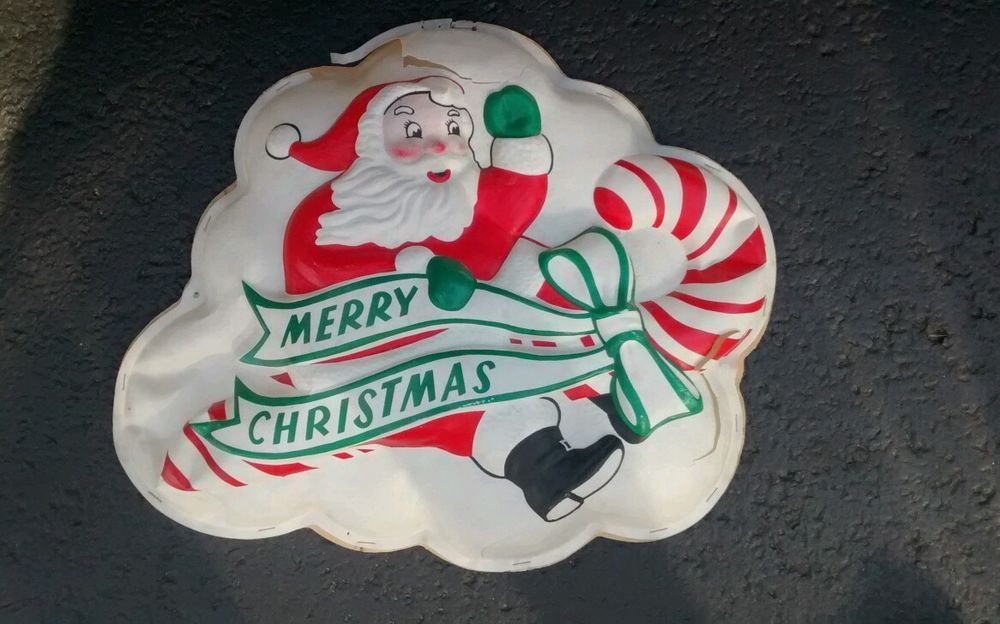 Vintage Christmas Pre Blow Mold Lighted GloLite USA Santa Claus Merry Christmas
