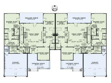 5000 Sq Ft Duplex With Bonus Room Family House Plans Duplex Floor Plans Multigenerational House Plans