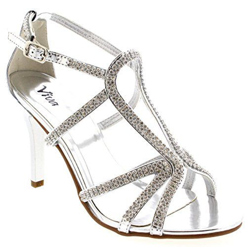 Womens Bridal Bridesmaid Prom Stiletto Wedding Party Pumps Heel Sandals - Silver - 8 - 39 - CD0157B -- More info @ http://www.amazon.com/gp/product/B00UXMCZTO/?tag=clothing8888-20&pmn=230716225304