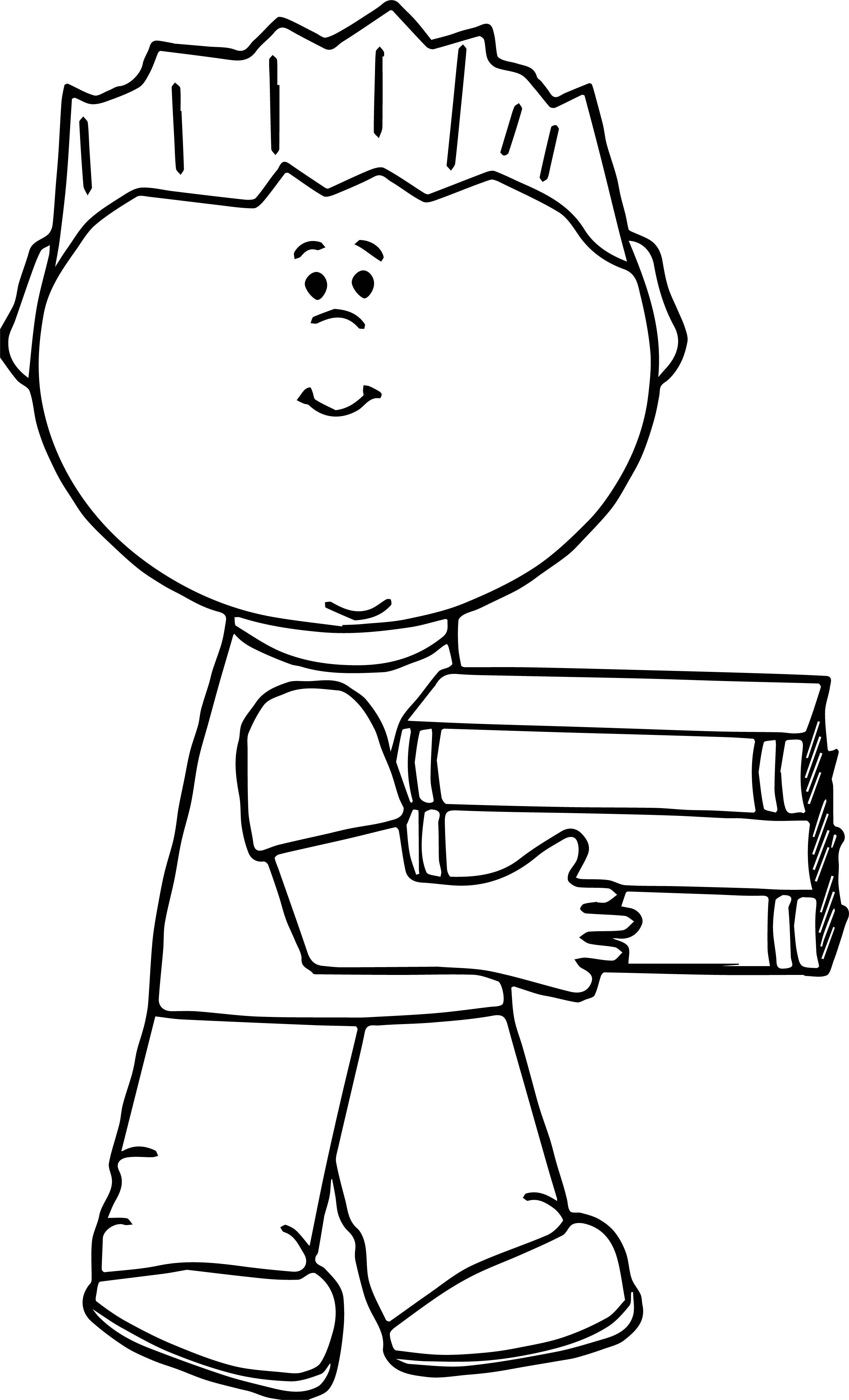Awesome Boy Carrying Book Coloring Page Desenhos Escola
