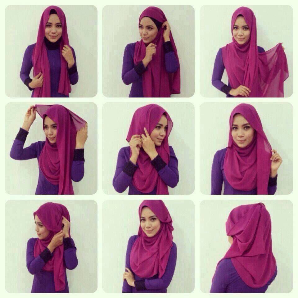 Hijab Tutorial Stepbystep Hijab Style Pinterest Purple