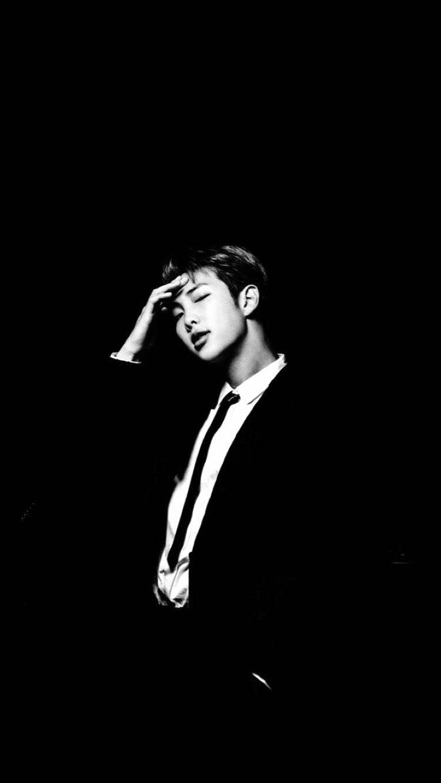 Namjoon Black and White rm namjoon aesthetic