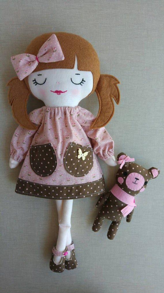 Sophie, poupée de chiffon, tissu, fait main, poupée poupée artisanat, collection, poupée dart original