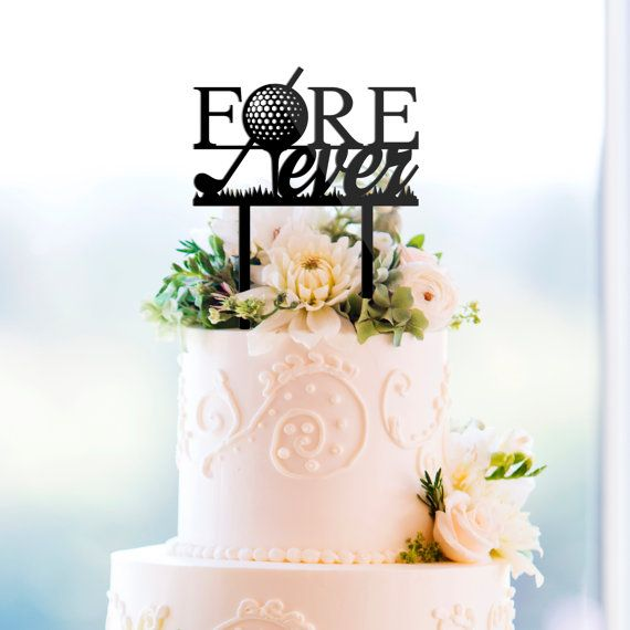 FOREVER, Golf Theme Wedding Cake Topper In Black Acrylic