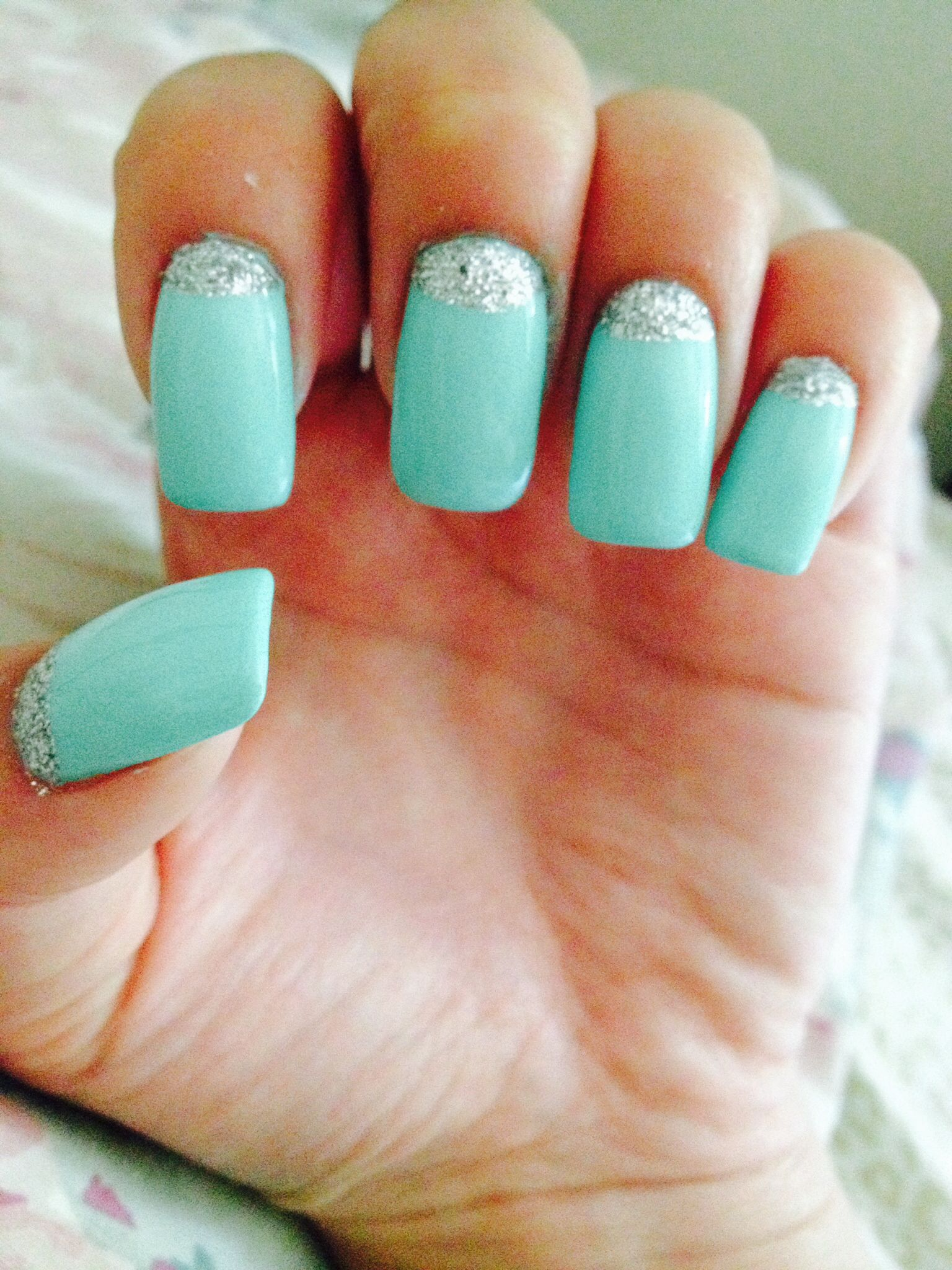 Nails. Mint. Nail design. Glitter on cuticle.   Nail design ...