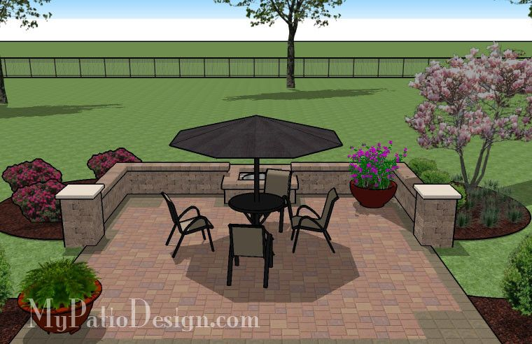 diy square patio design with seat wall and fire pit 320 sq ft download - Diy Patio Design