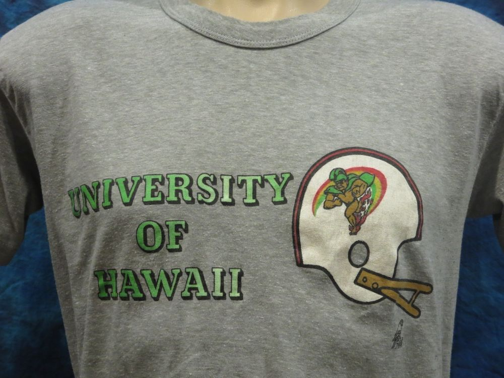 vtg 80s UNVERSITY OF HAWAII RAINBOW POLY TEES HALF BELLY CROP TOP T-Shirt S thin