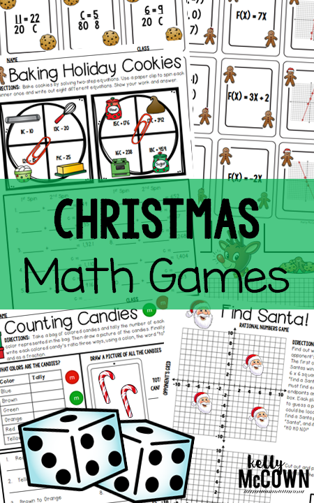 Christmas Math Games for Middle School Math. Grade 6, 7, & 8 ...