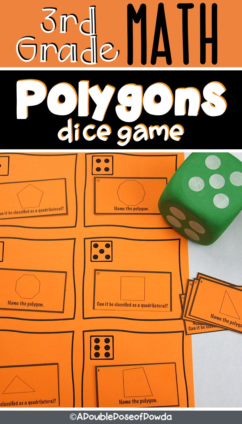 Classifying Polygons Dice Game Elementary math games