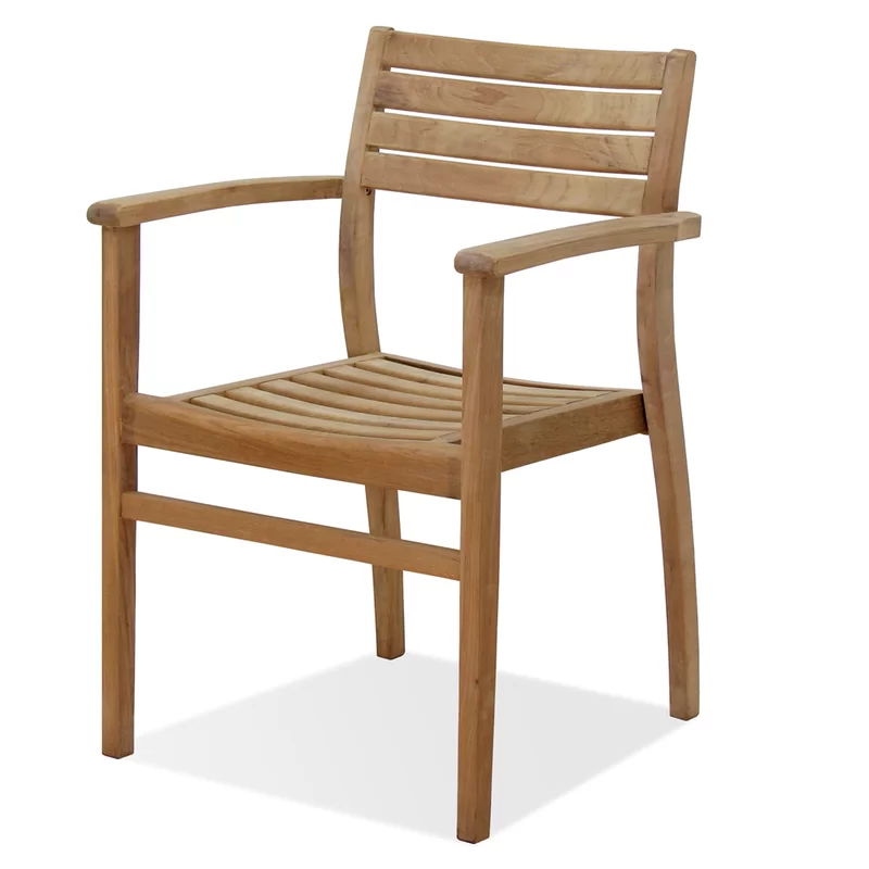 International Home Miami Canberra Stacking Teak Patio Dining Chair