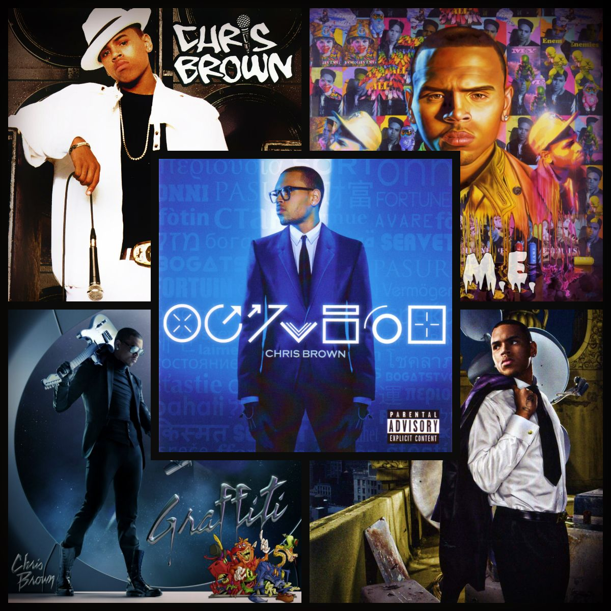 a collage of Chris Brown's albums     i love his music     so