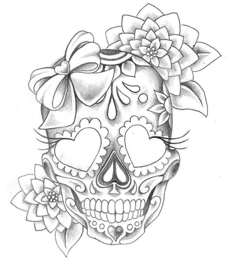 Papirouge Tattoo Zeichnungen Mexican Skull Tattoos Sugar Skull Tattoos Skull Girl Tattoo