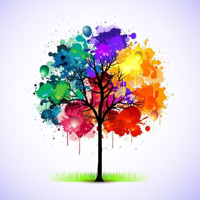 Sticker Colorful abstract tree background