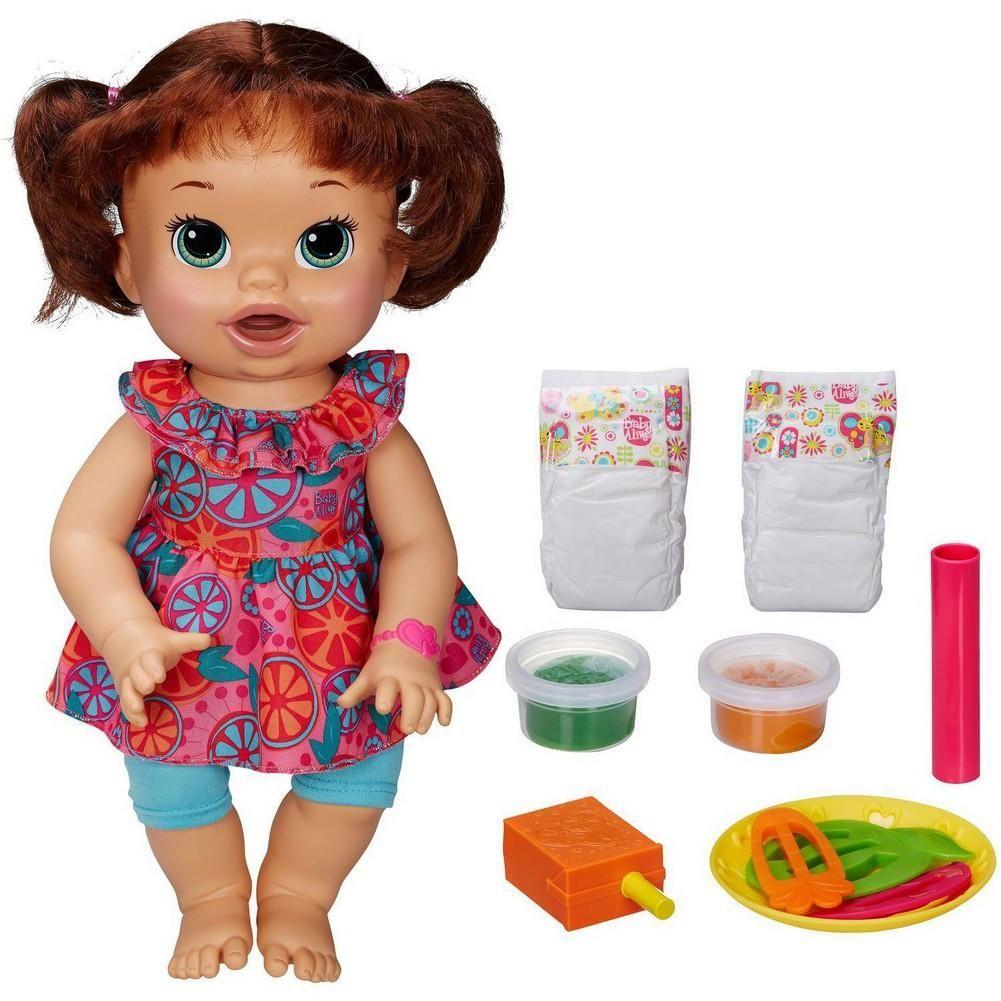Baby Alive Snackin Sara Brunette Baby Alive Dolls Baby Alive Food Realistic Baby Dolls