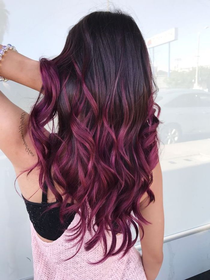 Burgundy Hair Ombre Black To Dark Red Pink Knitted Top White Background In 2020 Brunette Hair Color Hair Color Purple Hair Color Trends