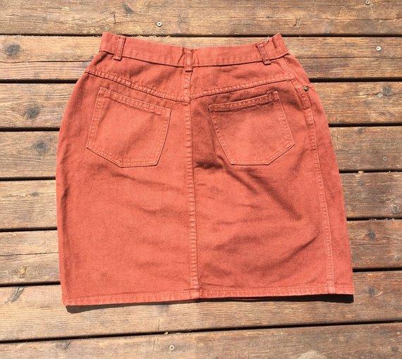 ec16f5c85c 28/29 90s denim skirt high waist 1990s rust brown russet orange high rise  28 29 small to medium S M